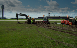 Directional drilling at airport for utility placement